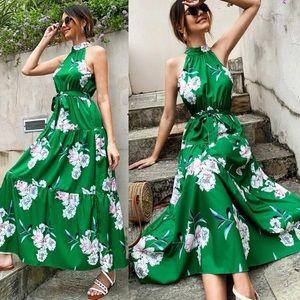 Boho green floral print halter dress